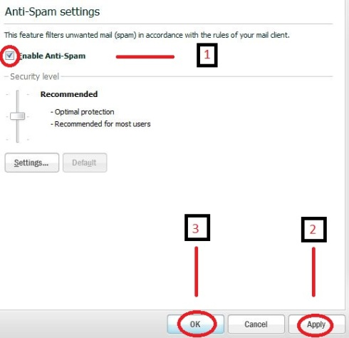 KIS antispam settings