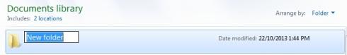 new folder name