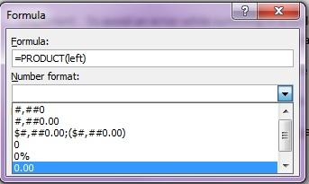 select formula popup product brackets left