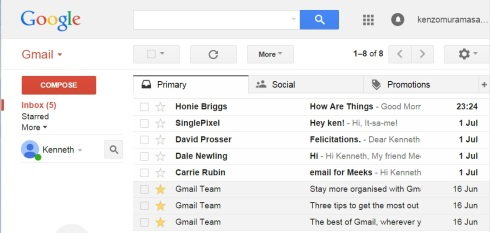 1 new Inbox list