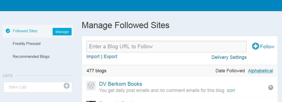 WP followed sites