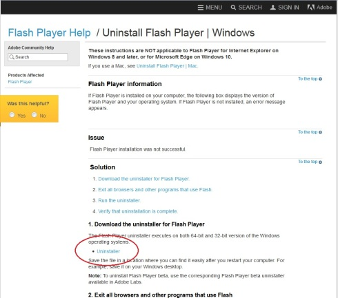 firefox Flashplayer uninstall 1