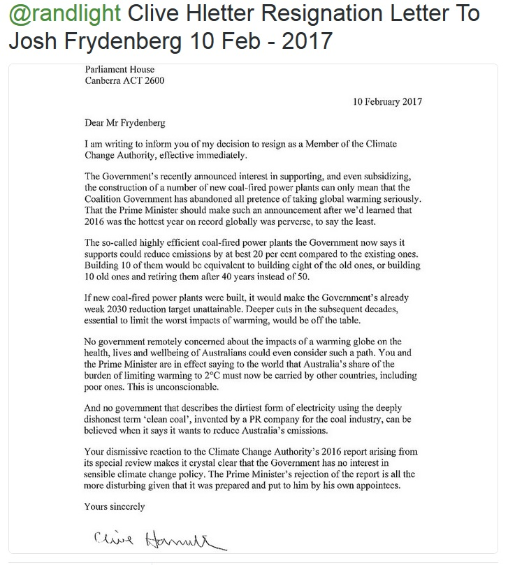 Letter of resignation from Climate Change Authority – Resignation Letter Australia