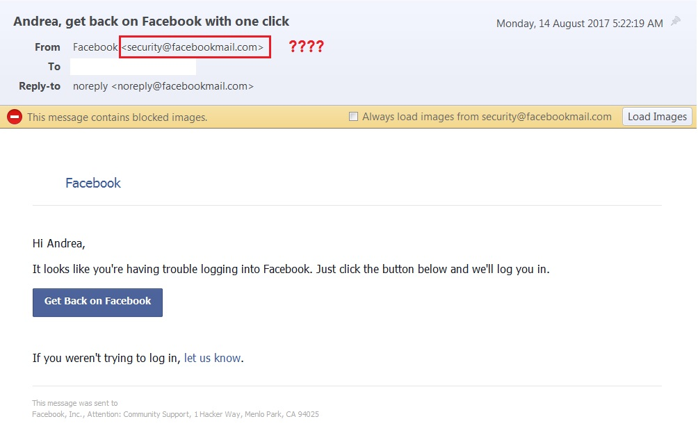 Facebook email scam or not? | Meeka\u0027s Mind